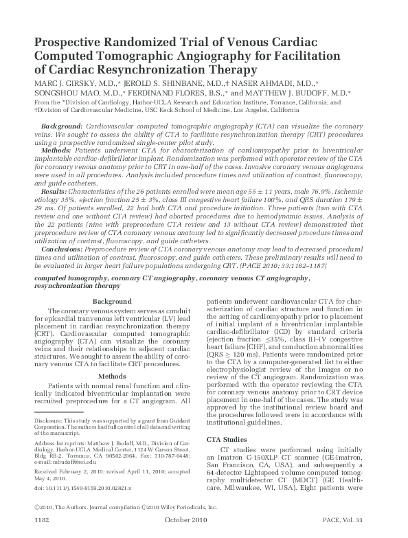 PDF) Prospective Randomized Trial of Venous Cardiac Computed