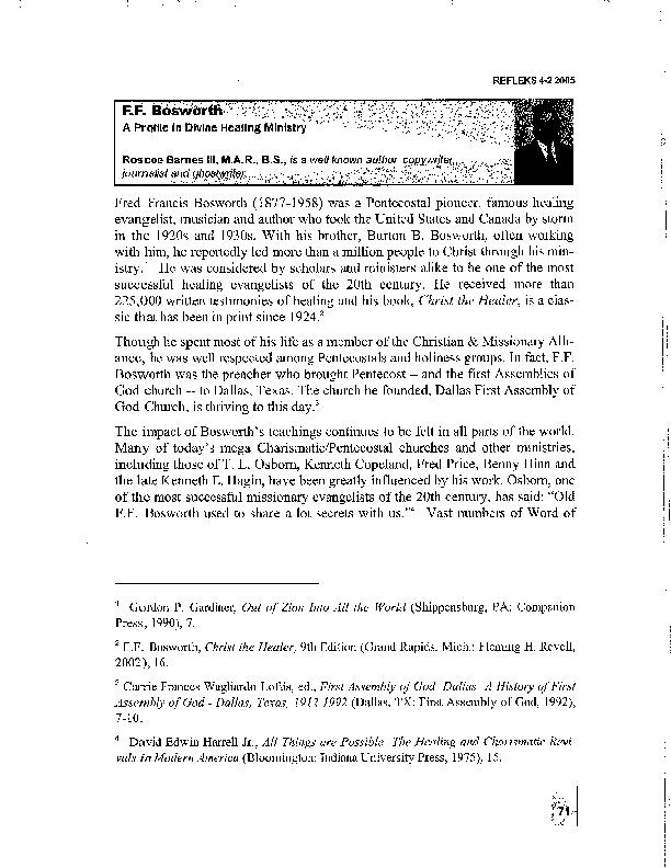 PDF) F F  Bosworth: A Profile in Divine Healing Ministry | Roscoe