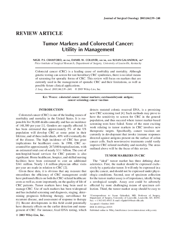 PDF) Tumor markers and colorectal cancer: Utility in