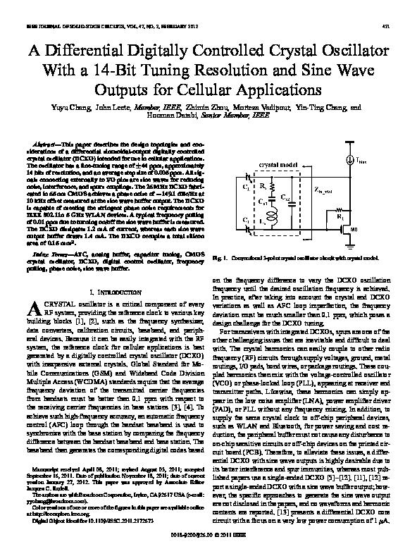 PDF) A Differential Digitally Controlled Crystal Oscillator