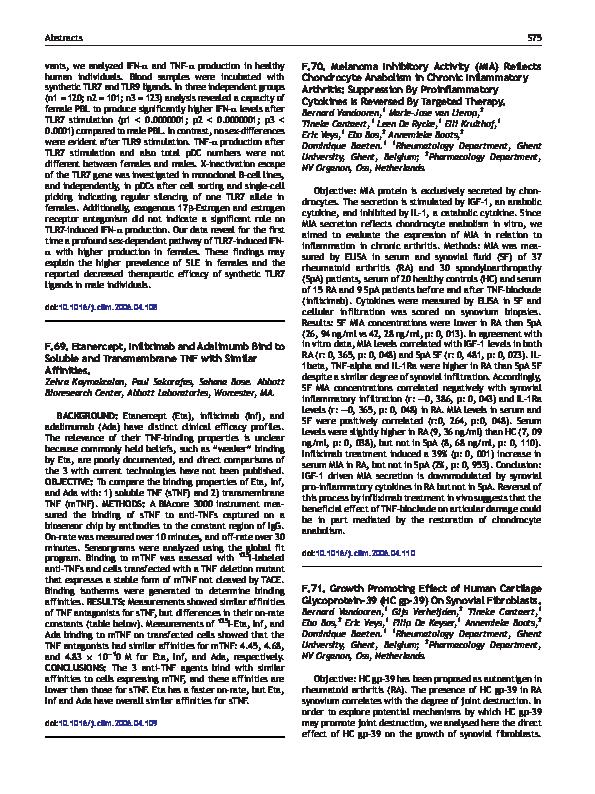 PDF) F 70  Melanoma Inhibitory Activity (MIA) Reflects Chondrocyte