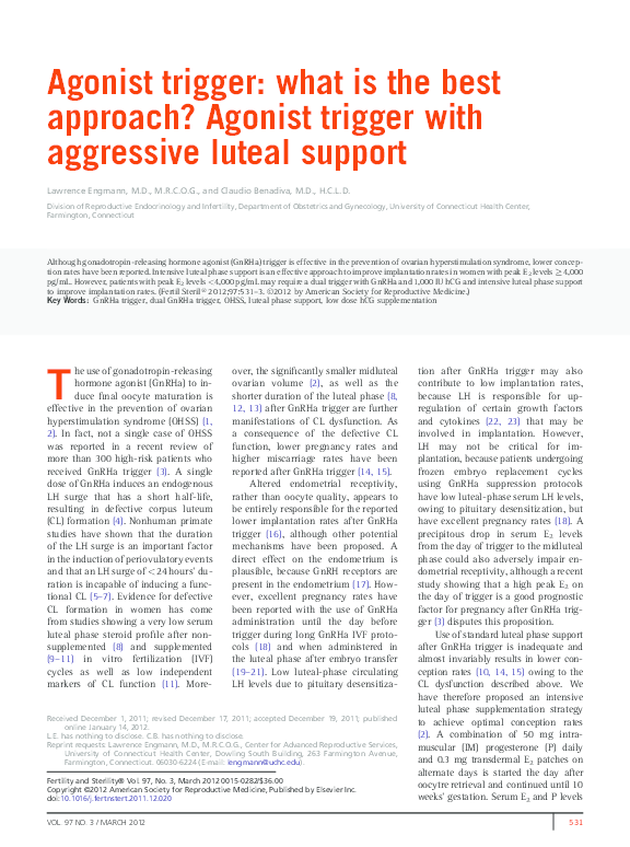 PDF) Agonist trigger: what is the best approach? Agonist