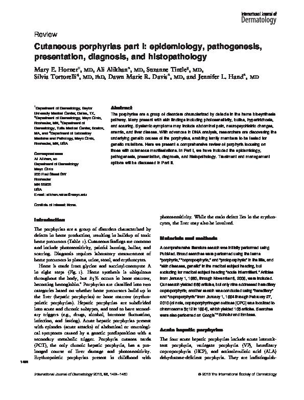 PDF) Cutaneous porphyrias part I: epidemiology, pathogenesis