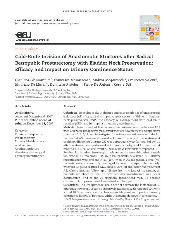 PDF) Cold-Knife Incision of Anastomotic Strictures after Radical