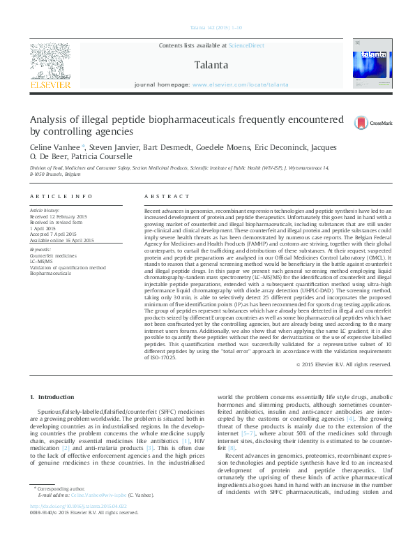 PDF) Analysis of illegal peptide biopharmaceuticals