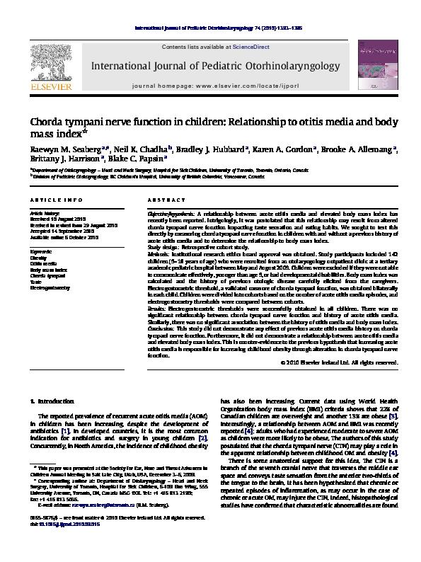 Pdf Chorda Tympani Nerve Function In Children Relationship To Otitis Media And Body Mass Index Karen Gordon Academia Edu The chorda tympani nerve runs through the middle ear and into the tongue. academia edu