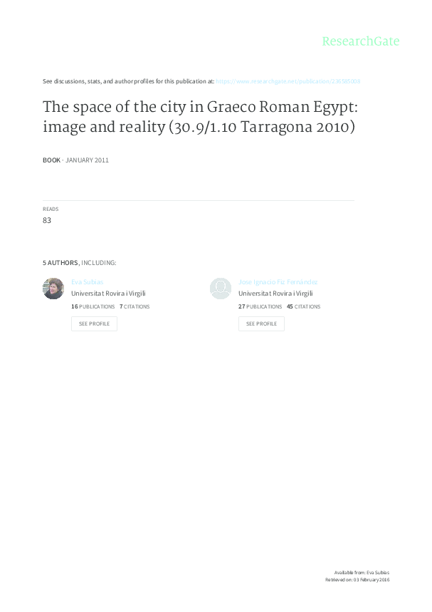 Pdf The Space Of The City In Graeco Roman Egypt Image And
