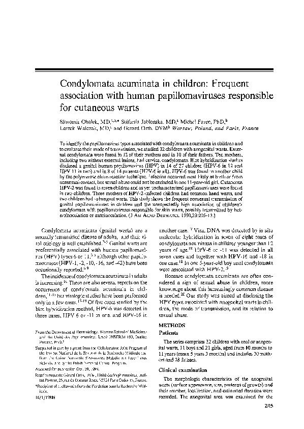 humán papillomavírus vs condyloma acuminata)