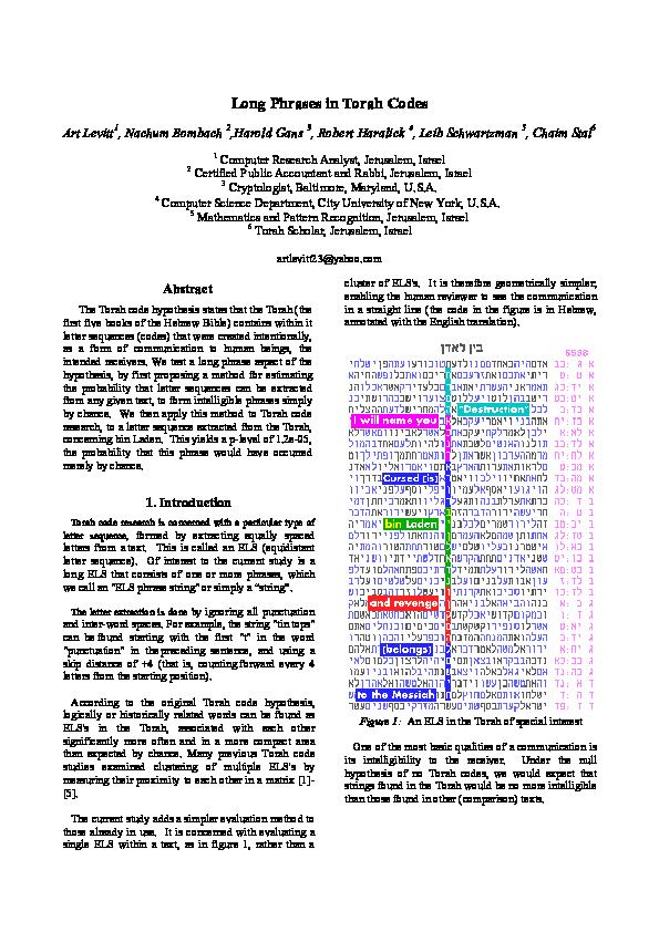 PDF) Long Phrases in Torah Codes | Art Levitt and Harold Gans