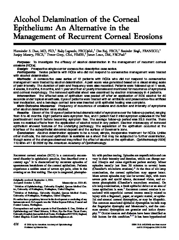 PDF) Alcohol delamination of the corneal epithelium: an