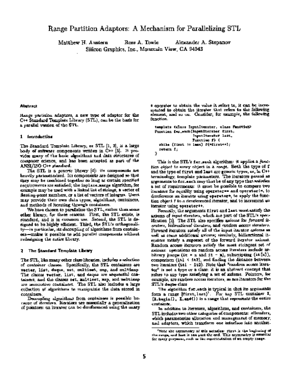 PDF) Range partition adaptors: a mechanism for parallelizing STL