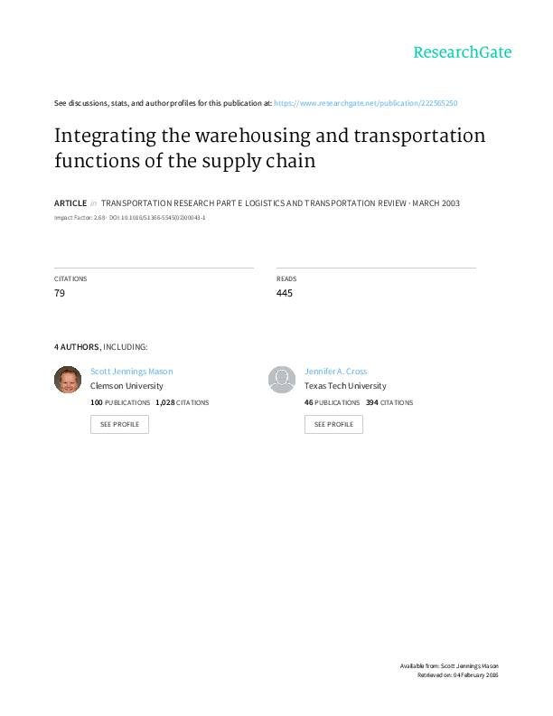 PDF) Integrating the Warehousing and Transportation Functions of the