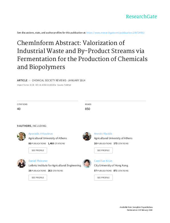PDF) Valorization of industrial waste and by-product streams