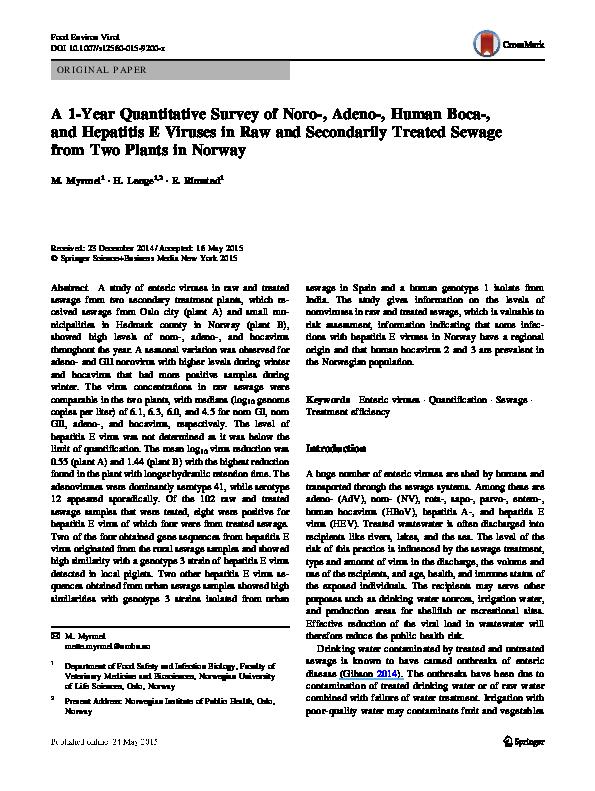 PDF) A 1-Year Quantitative Survey of Noro-, Adeno-, Human