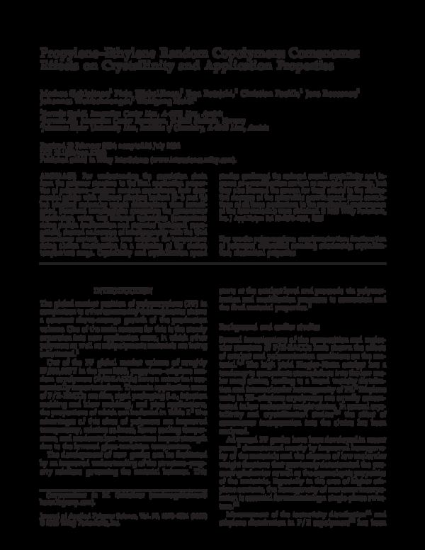 PDF) Propylene-ethylene random copolymers: Comonomer effects on