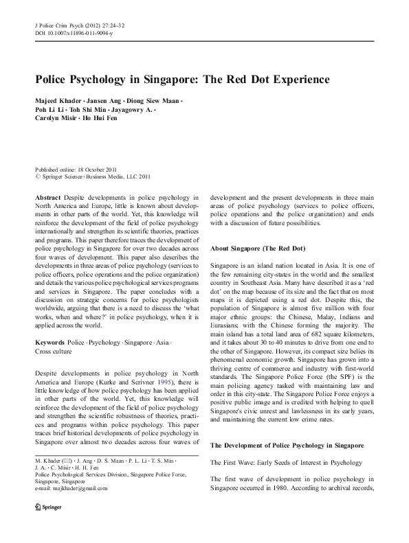 PDF) Police Psychology in Singapore: The Red Dot Experience | Majeed