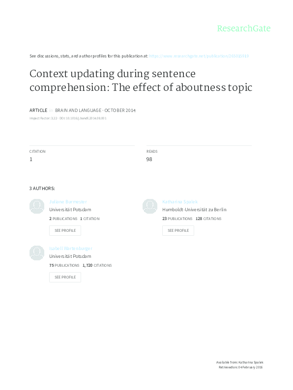 PDF) Context updating during sentence comprehension: the effect of