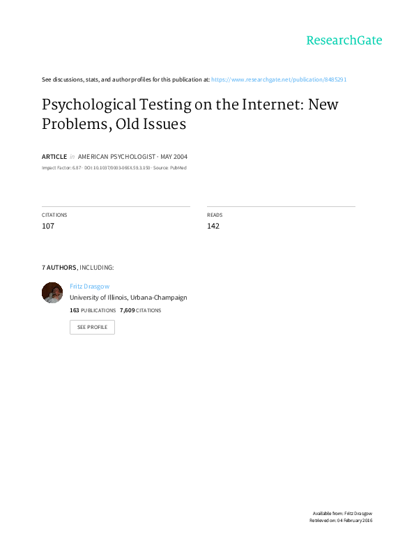 PDF) Psychological Testing on the Internet: New Problems