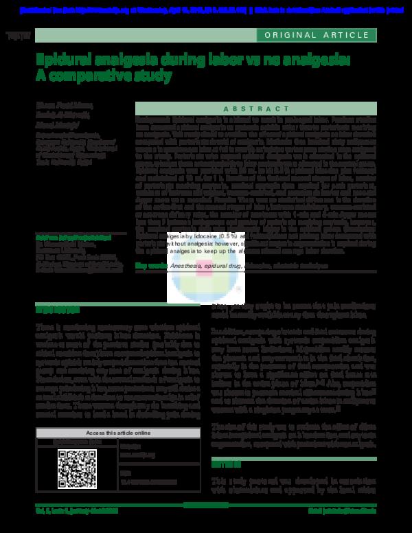PDF) Epidural analgesia during labor vs no analgesia: A
