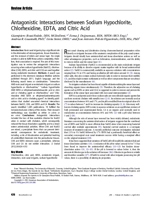 PDF) Antagonistic irrigants between sodium hypochlorite
