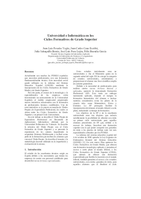 Pdf Universidad E Informática En Los Ciclos Formativos De