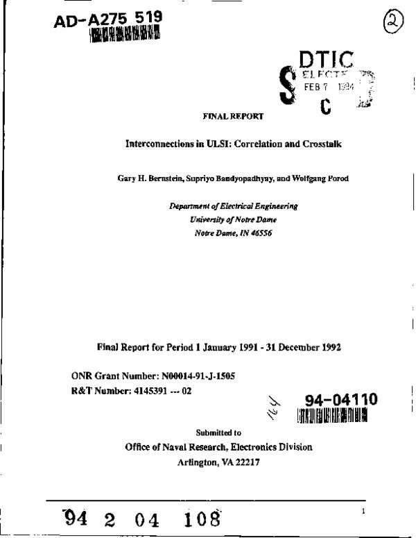 PDF) Interconnections in ULSI: Correlation and Crosstalk
