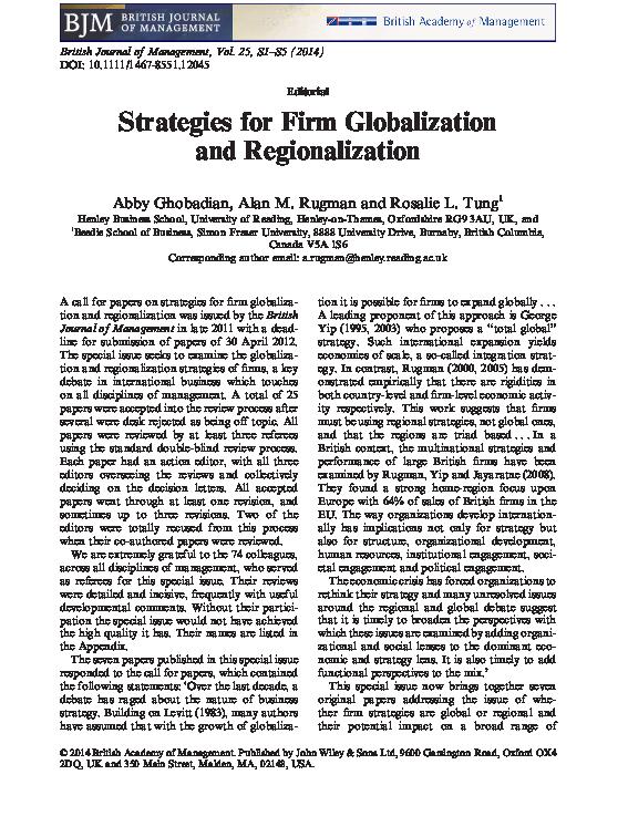 PDF) Strategies for Firm Globalization and Regionalization