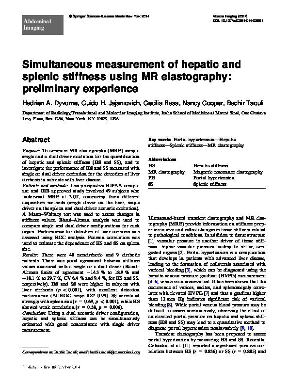 PDF) Simultaneous measurement of hepatic and splenic