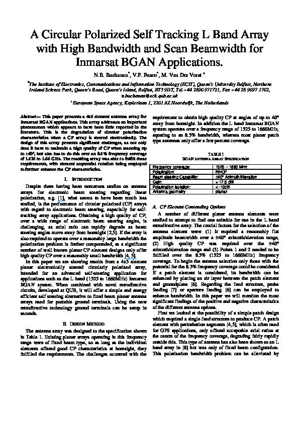 PDF) A circular polarized self tracking L band array with high