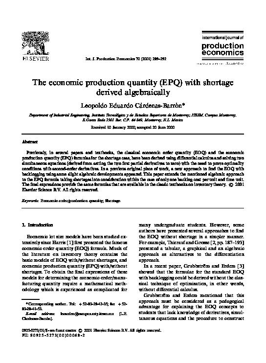 PDF) The economic production quantity (EPQ) with shortage