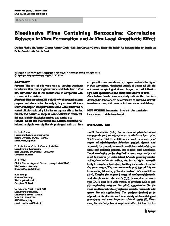 PDF) Bioadhesive Films Containing Benzocaine: Correlation Between In
