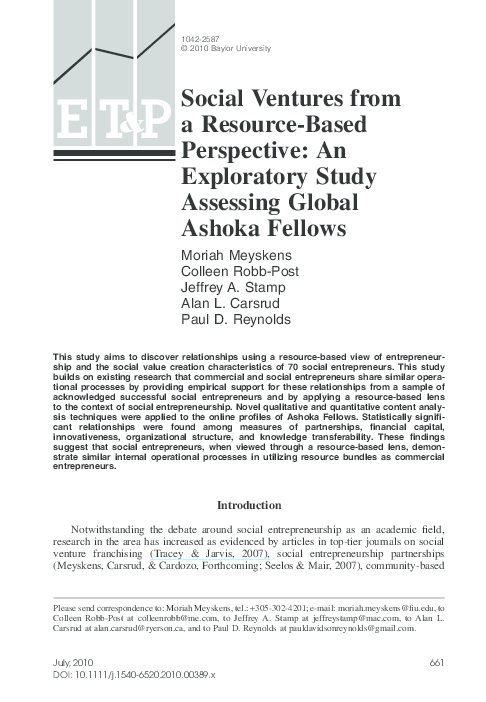 PDF) Social Ventures from a Resource-Based Perspective: An