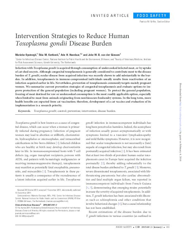 PDF) Intervention Strategies to Reduce Human Toxoplasma