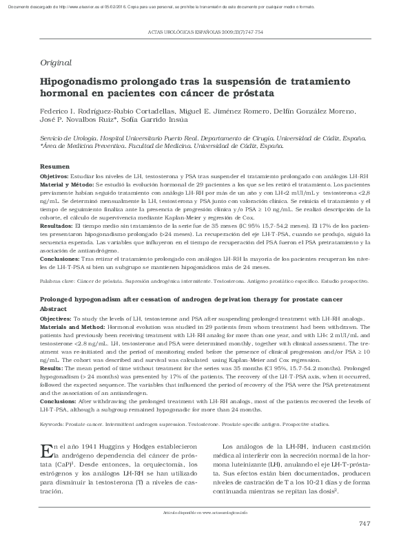 supresión de testosterona para el cáncer de próstata