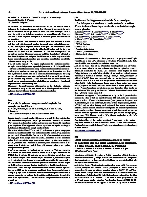 PDF) Traitement de l'algie vasculaire de la face chronique ...