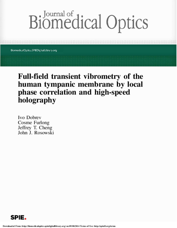 PDF) Full-field transient vibrometry of the human tympanic