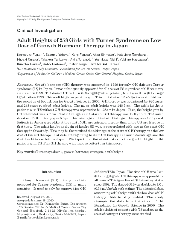 PDF) Adult heights of 258 girls with turner syndrome on low