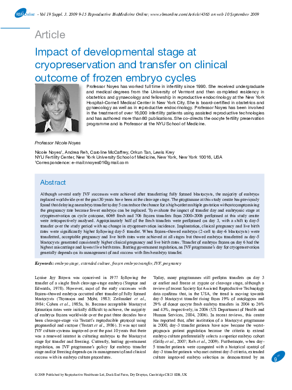 PDF) Impact of developmental stage at cryopreservation and transfer