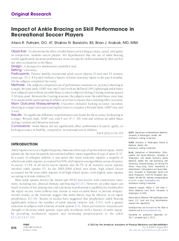 PDF) Impact of Ankle Bracing on Skill Performance in Recreational