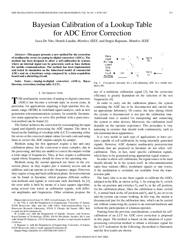 PDF) Bayesian Calibration of a Lookup Table for ADC Error