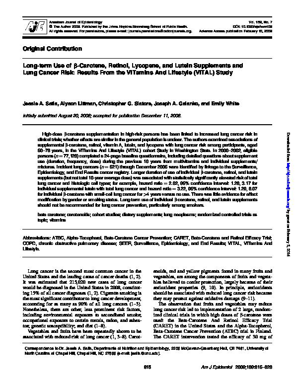 PDF) Long-term Use of -Carotene, Retinol, Lycopene, and Lutein