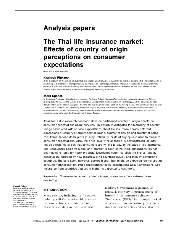 PDF) The Thai life insurance market: Effects of country of