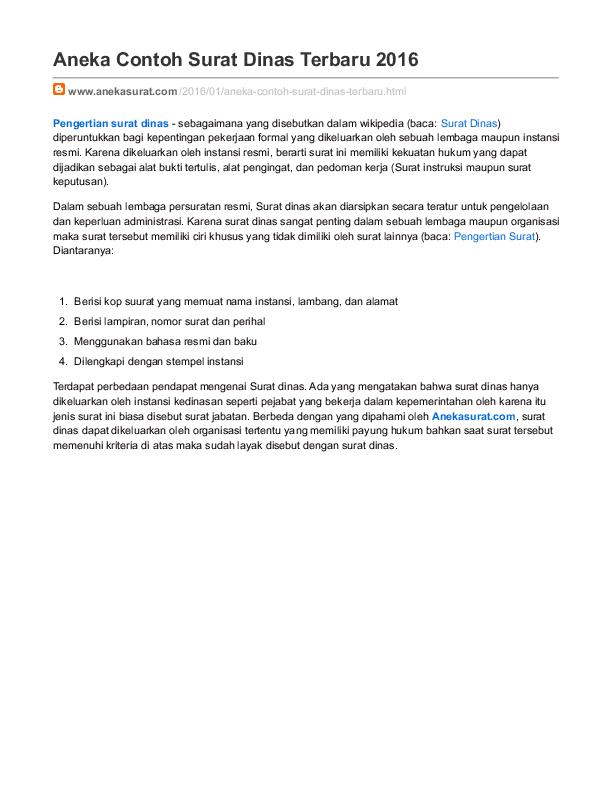 Pdf Contoh Surat Dinas 2016 Reno Sutarjo Academiaedu