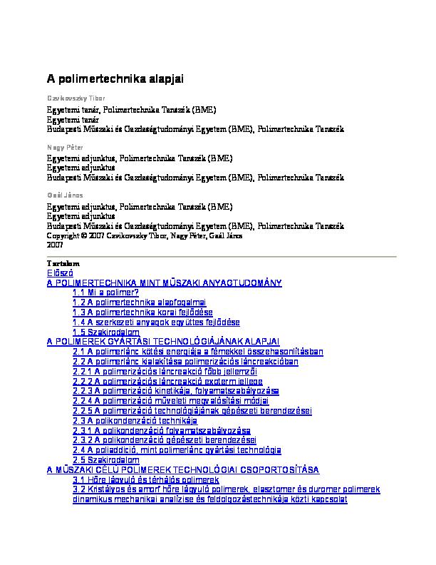 6d46d63b5fc2 PDF) A polimertechnika alapjai Egyetemi adjunktus, Polimertechnika ...