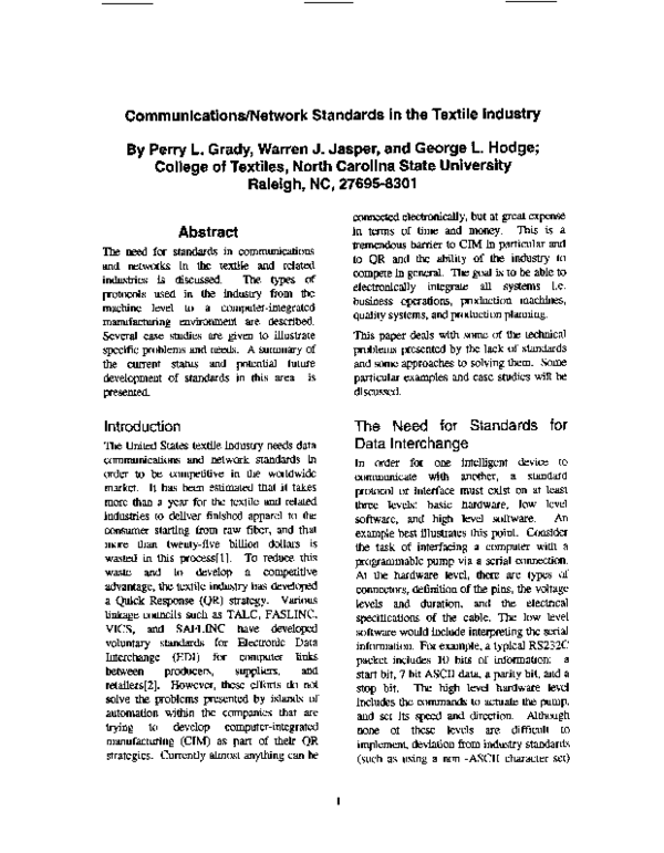 PDF) Communications/network standards in the textile