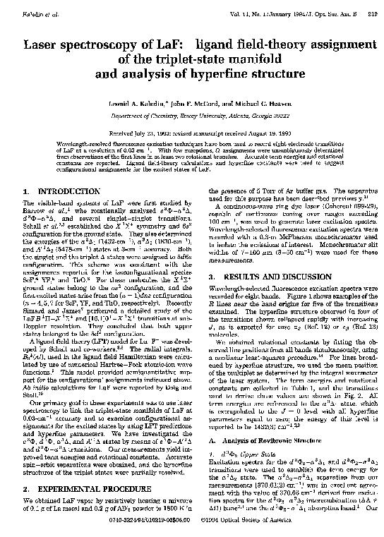PDF) Laser spectroscopy of LaF: ligand field-theory
