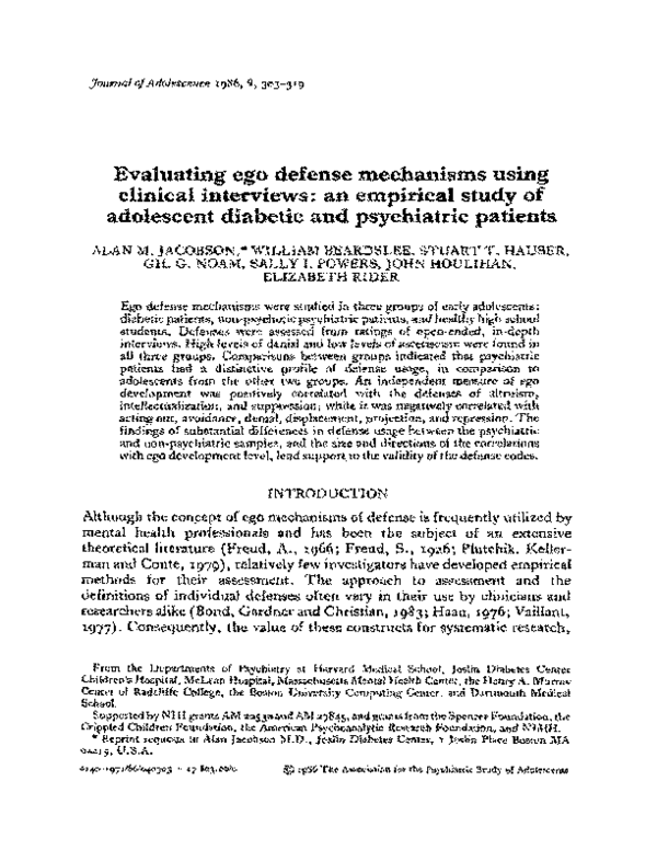 Pdf Evaluating Ego Defense Mechanisms Using Clinical Interviews