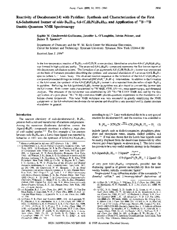 Pdf Reactivity Of Decaborane 14 With Pyridine Synthesis And