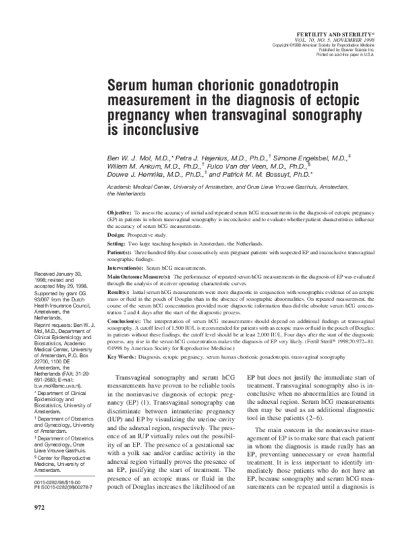PDF) Serum human chorionic gonadotropin measurement in the
