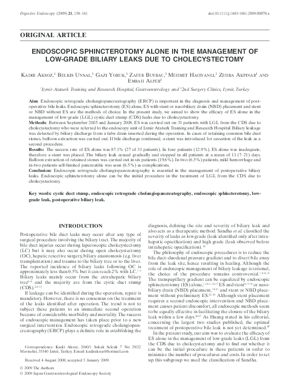 PDF) ENDOSCOPIC SPHINCTEROTOMY ALONE IN THE MANAGEMENT OF